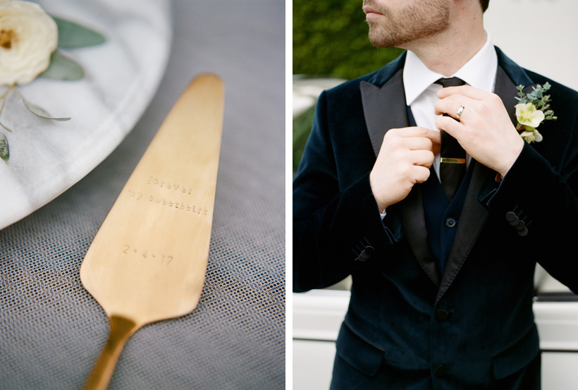 Personalized Wedding Cake Server from Taudrey, Jacket by Hugo Boss - photos by Kat Braman