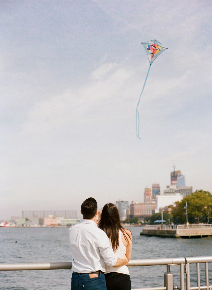 Flying Kites in NYC - Engagement Session - photo by Kat Braman