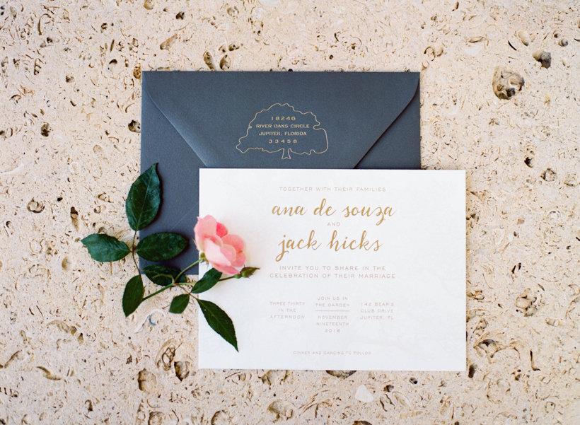 Custom designed gold and grey letterpress wedding invitations from Able Letterpress - photo by Kat Braman