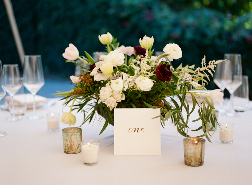 Organic reception centerpieces from Port and Palm Co. and gold foil table numbers from Gold Cotton Print.  Photo by Kat Braman