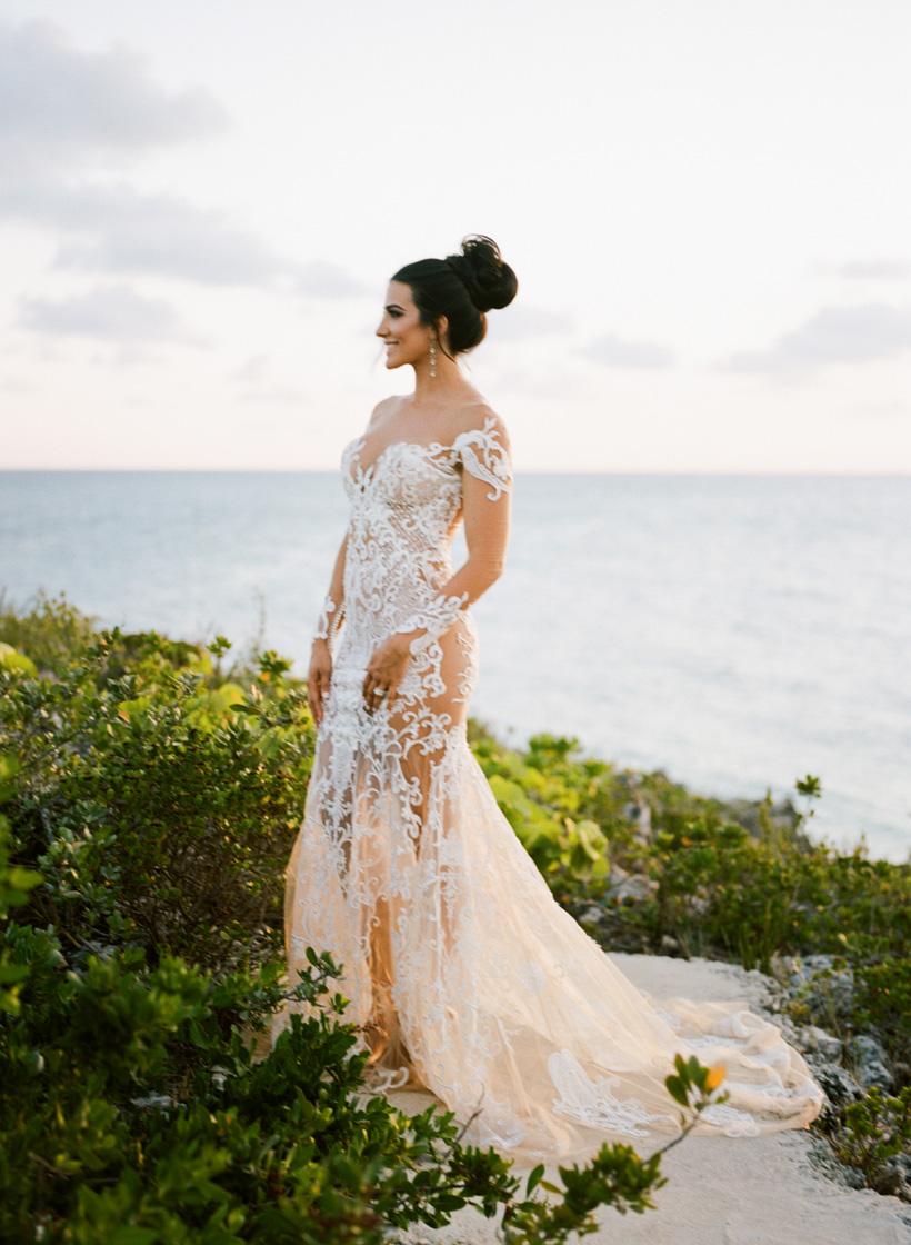 Bride in Nektaria World Wedding Dress at The Cove Eleuthera - photo by Kat Braman