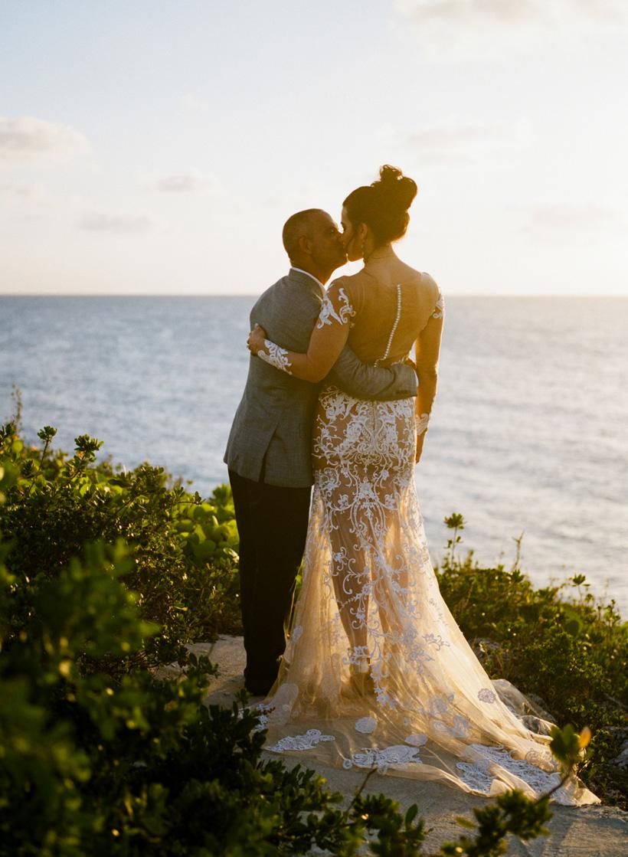 Sunset Wedding Photos at Bahamas Destination Wedding - photo by Kat Braman