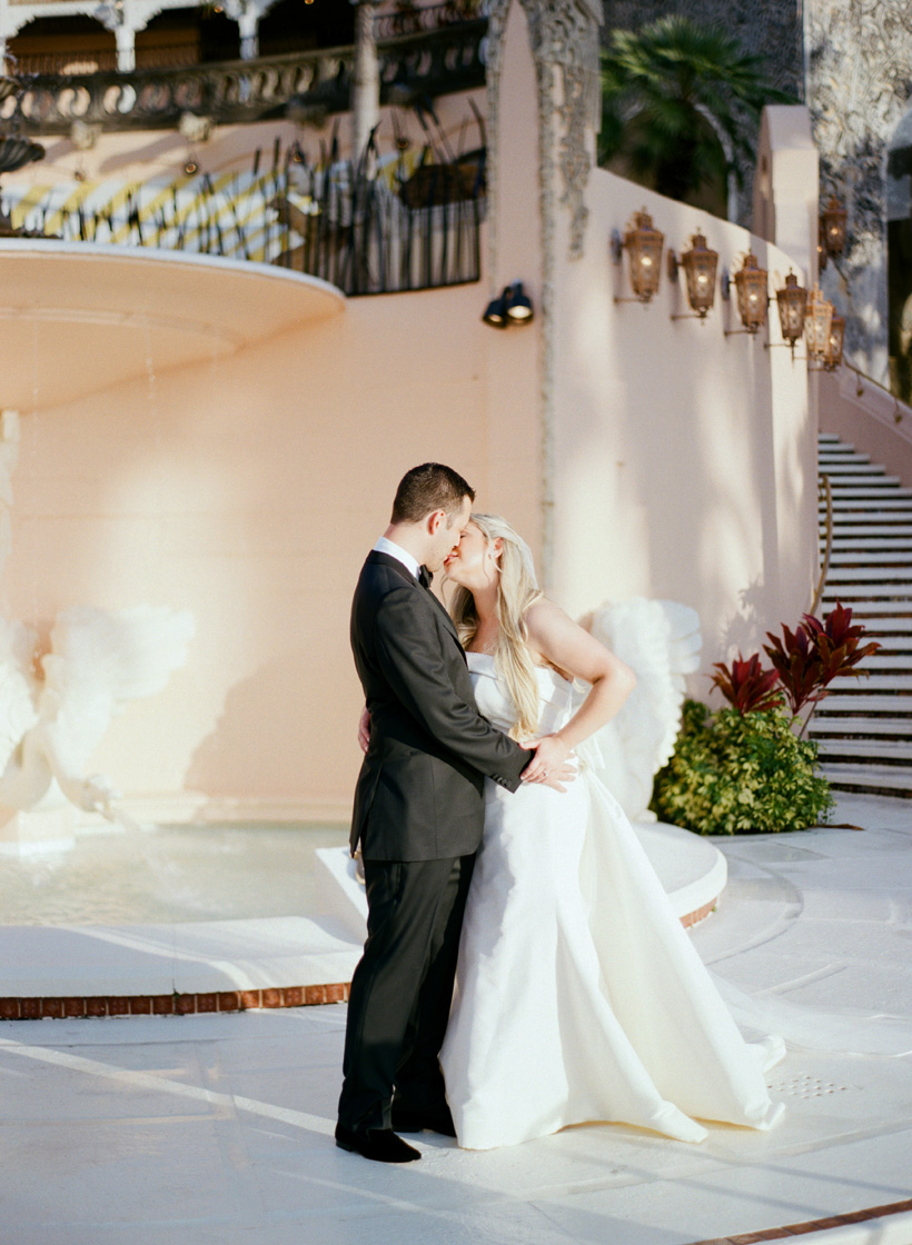 Bride and Groom portraits at the Mar-a-Lago Club in Palm Beach. Photo by Kat Braman