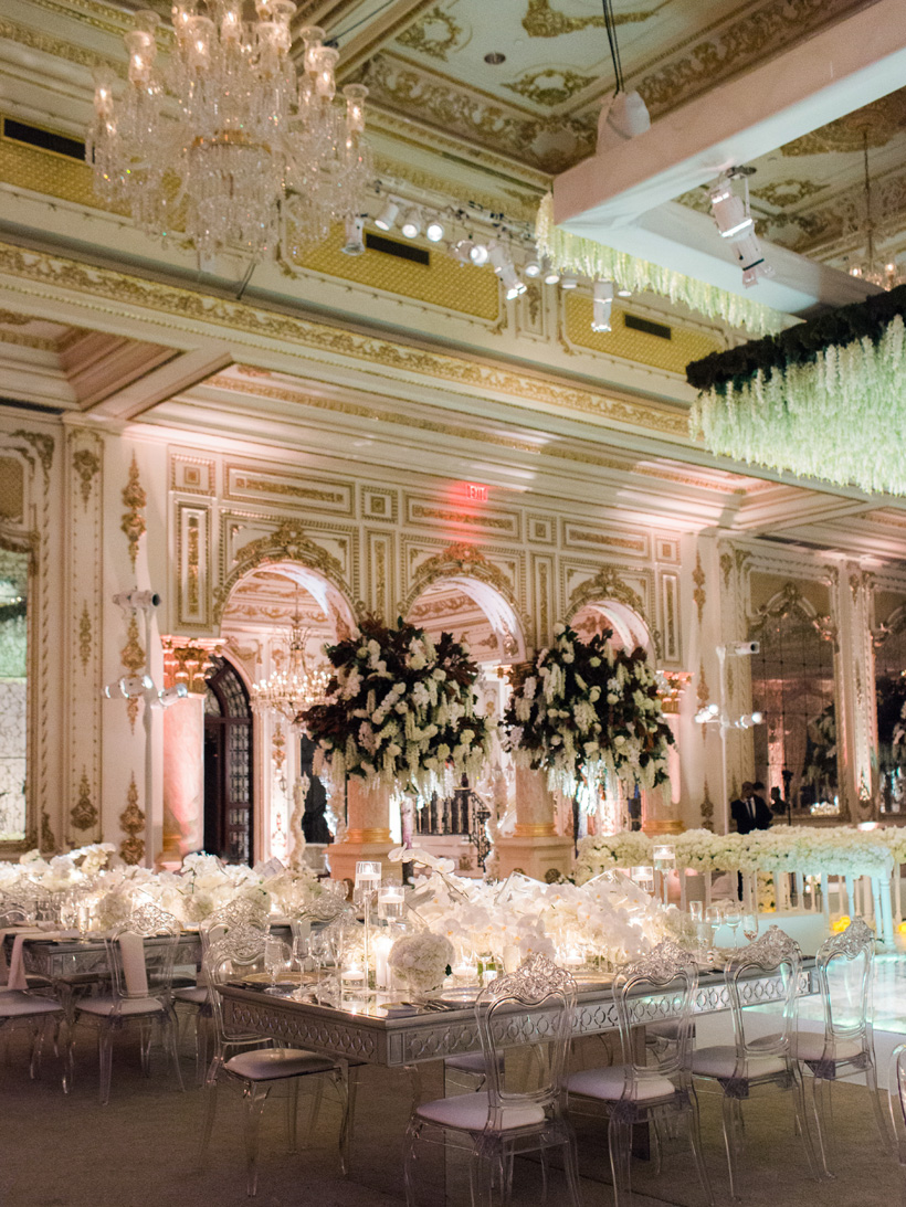 The incredible Mar-a-Lago Club ballroom set for an elegant wedding reception. Photo by Kat Braman