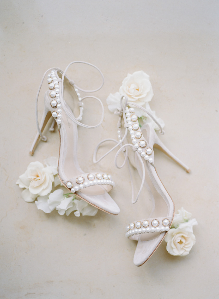 Monique Lhuillier Wedding Shoes embellished with pearls