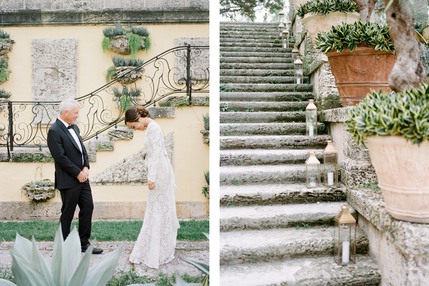 First look with father of the bride at Vizcaya