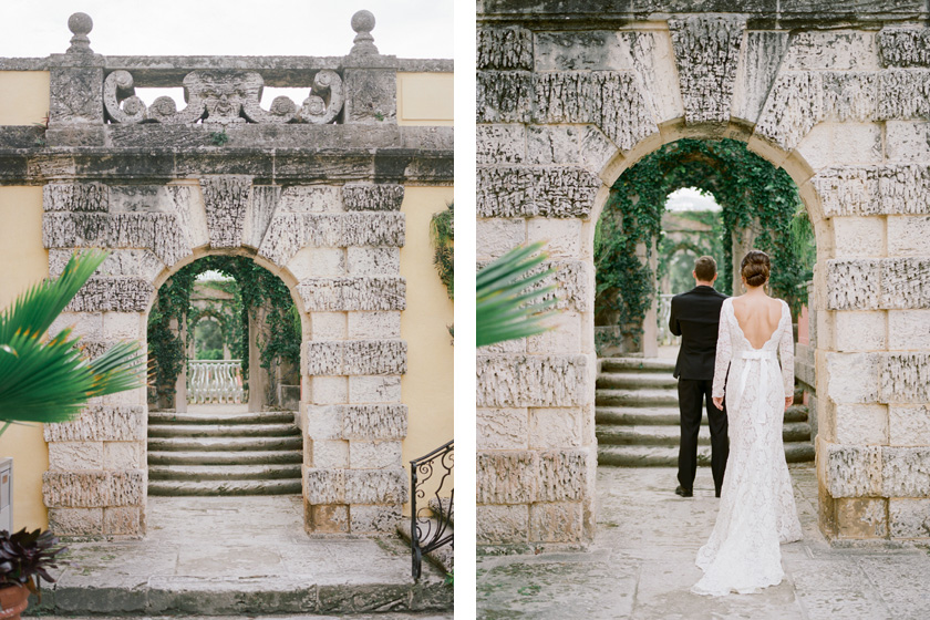 First look with bride and groom in the Secret Garden at Vizcaya in Miami
