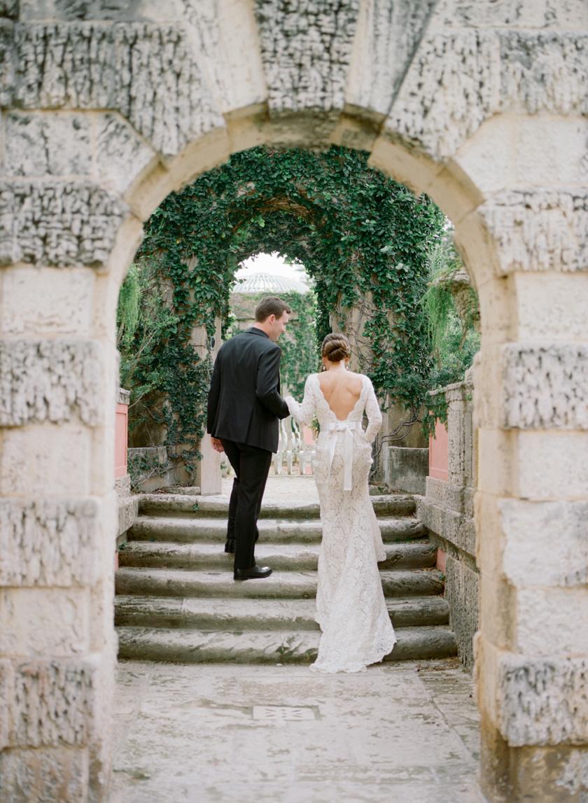Wedding day photos at Vizcaya Museum in Miami