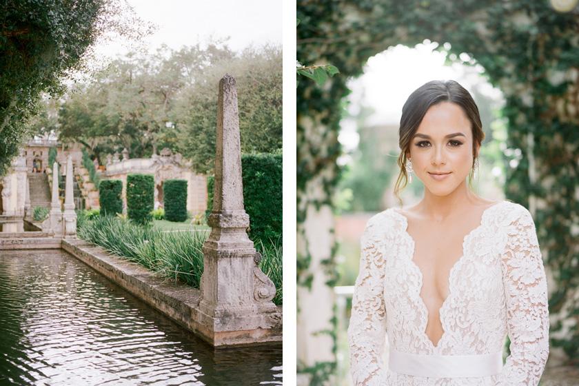 Bride in Oscar de la Renta wedding dress at Vizcaya
