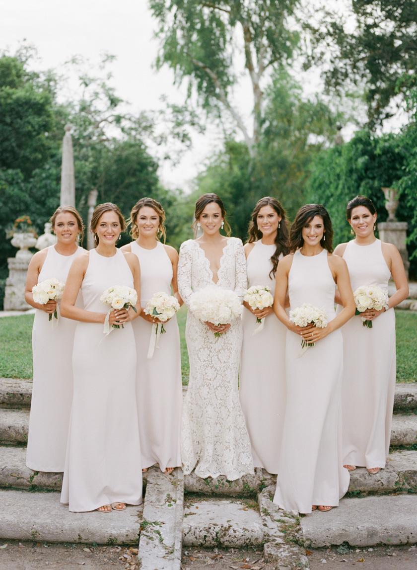 Bridesmaids in blush at Vizcaya
