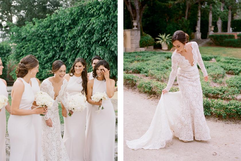 Wedding Party photos at Vizcaya in Miami