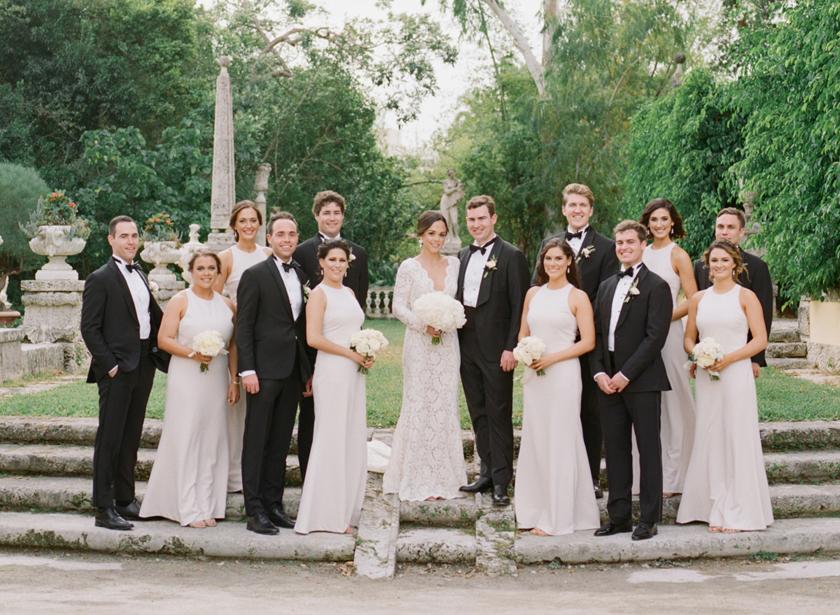 Elegant wedding party photos at Vizcaya Museum in Miami