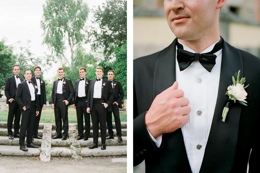 Groom and groomsmen in Enzo Custom tuxedos at Vizcaya