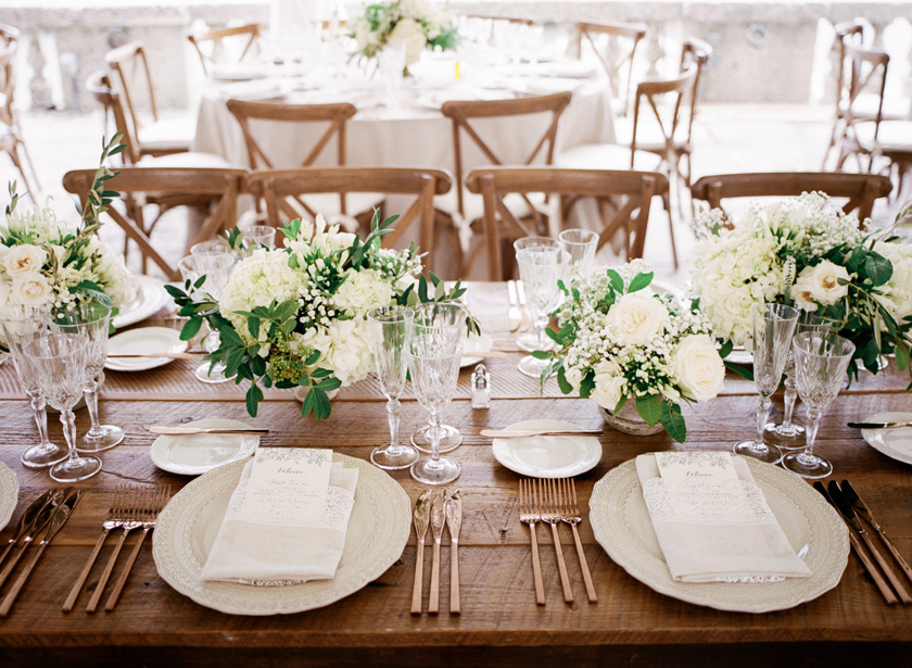 Italian-inspired table design with copper details at Vizcaya in Miami
