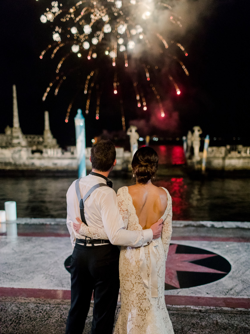 Fireworks at Vizcaya Museum and Gardens Wedding