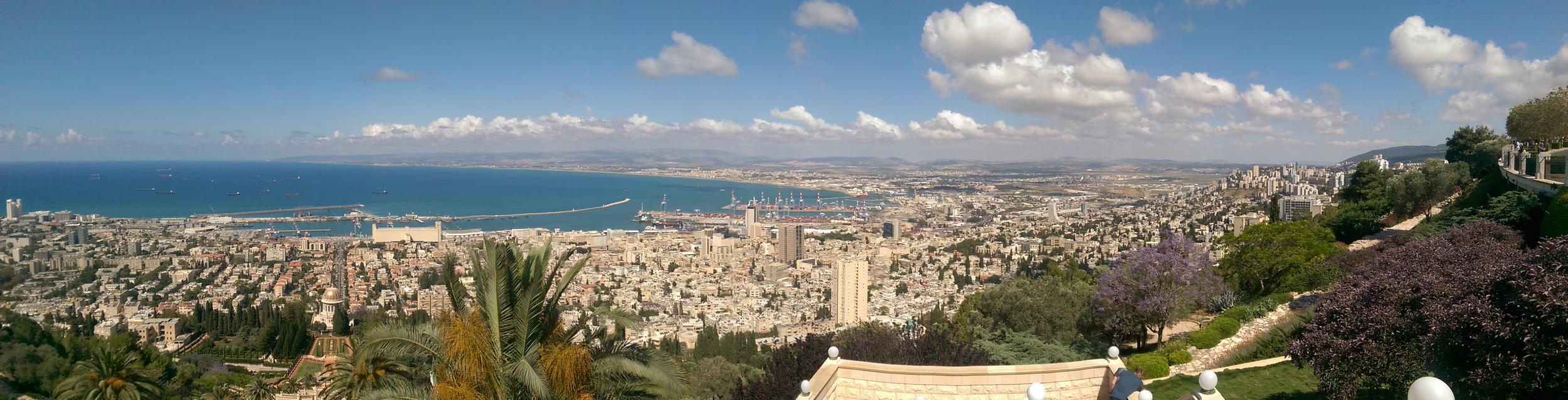 The city of Haifa, as seen from the Bahá'íGardens.