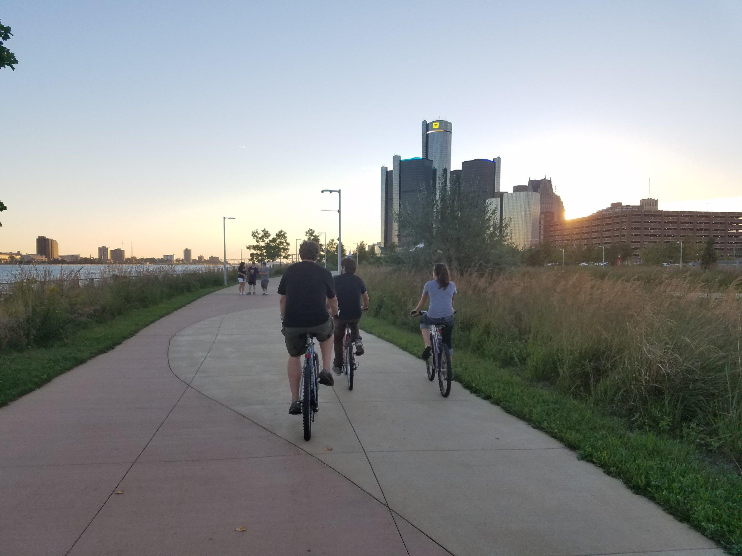 Biking on the Detroit River Walk.
