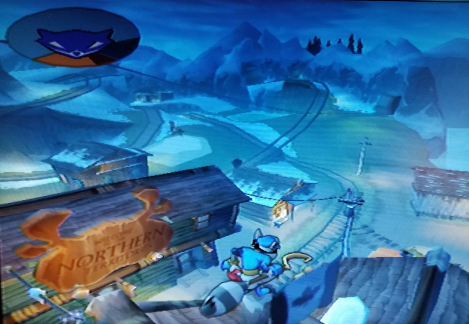 """Sly Cooper surveys the Canadian landscape in Episode 6: """"He Who Tames the Iron Horse"""" in Sly 2: Band of Thieves."""