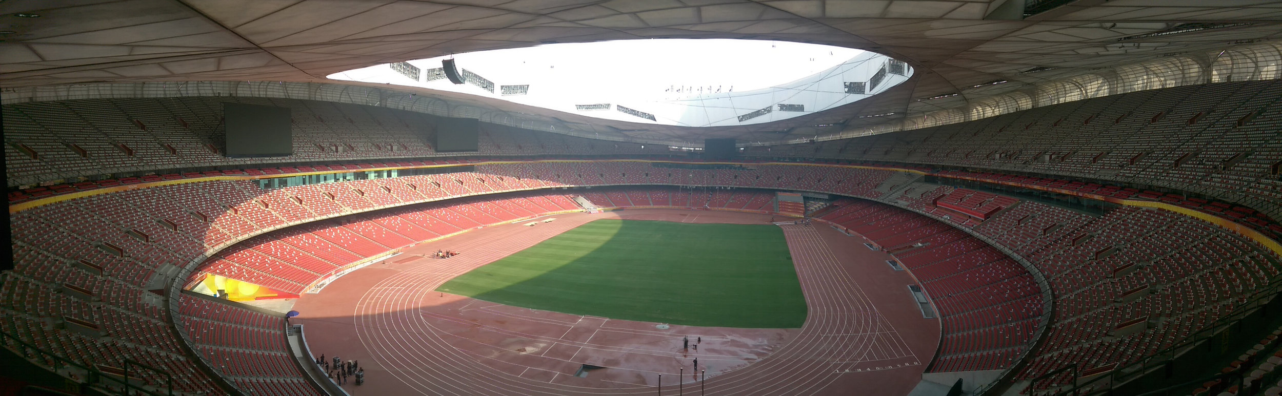 Inside Bird's Nest at Olympic Green in Beijing's Chaoyang District