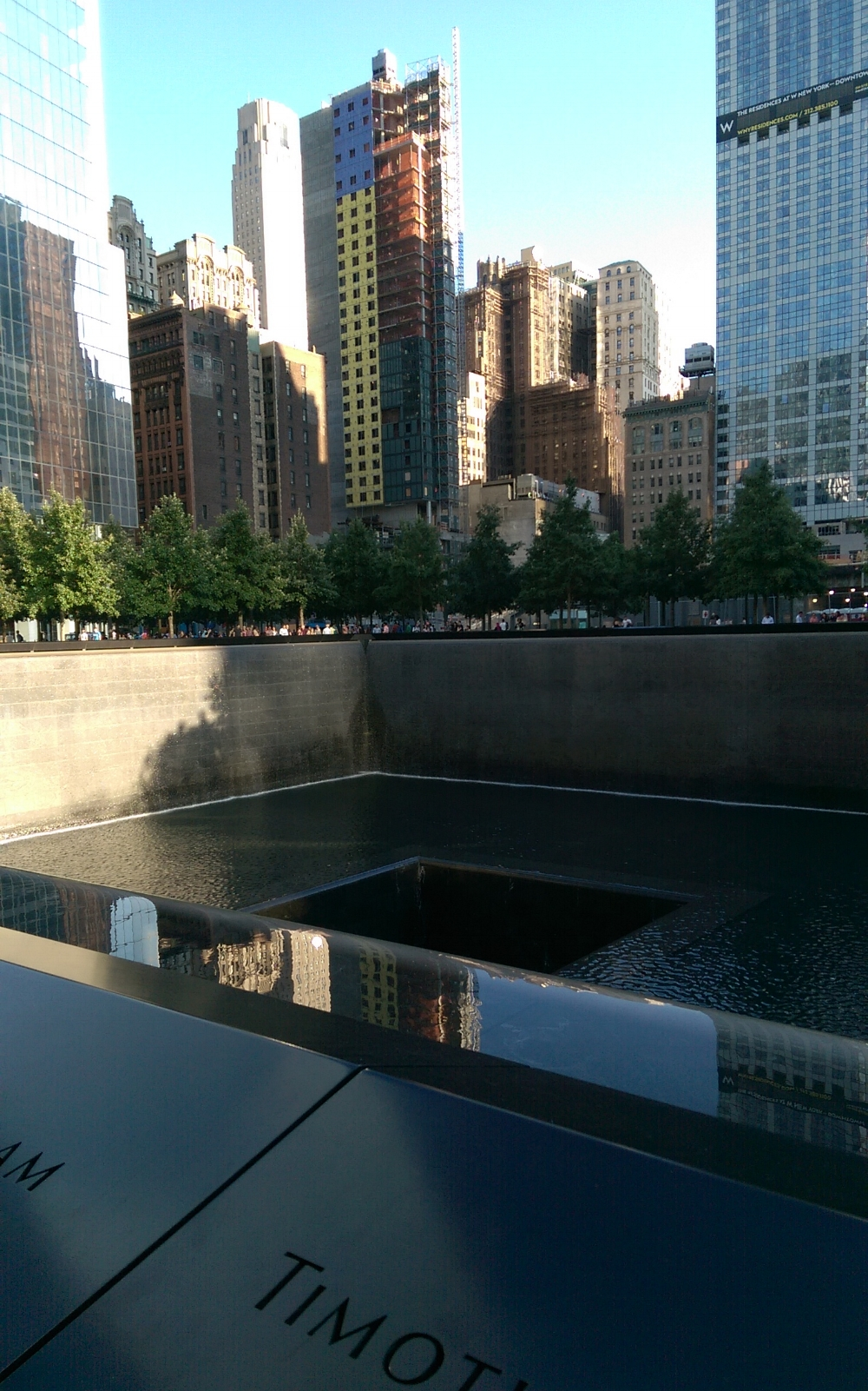 The South Pool at the National September 11 Memorial & Museum located in Lower Manhattan.