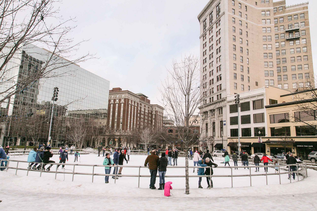 Ice skaters frolic in Rosa Parks Circle (Image:  Flickr )