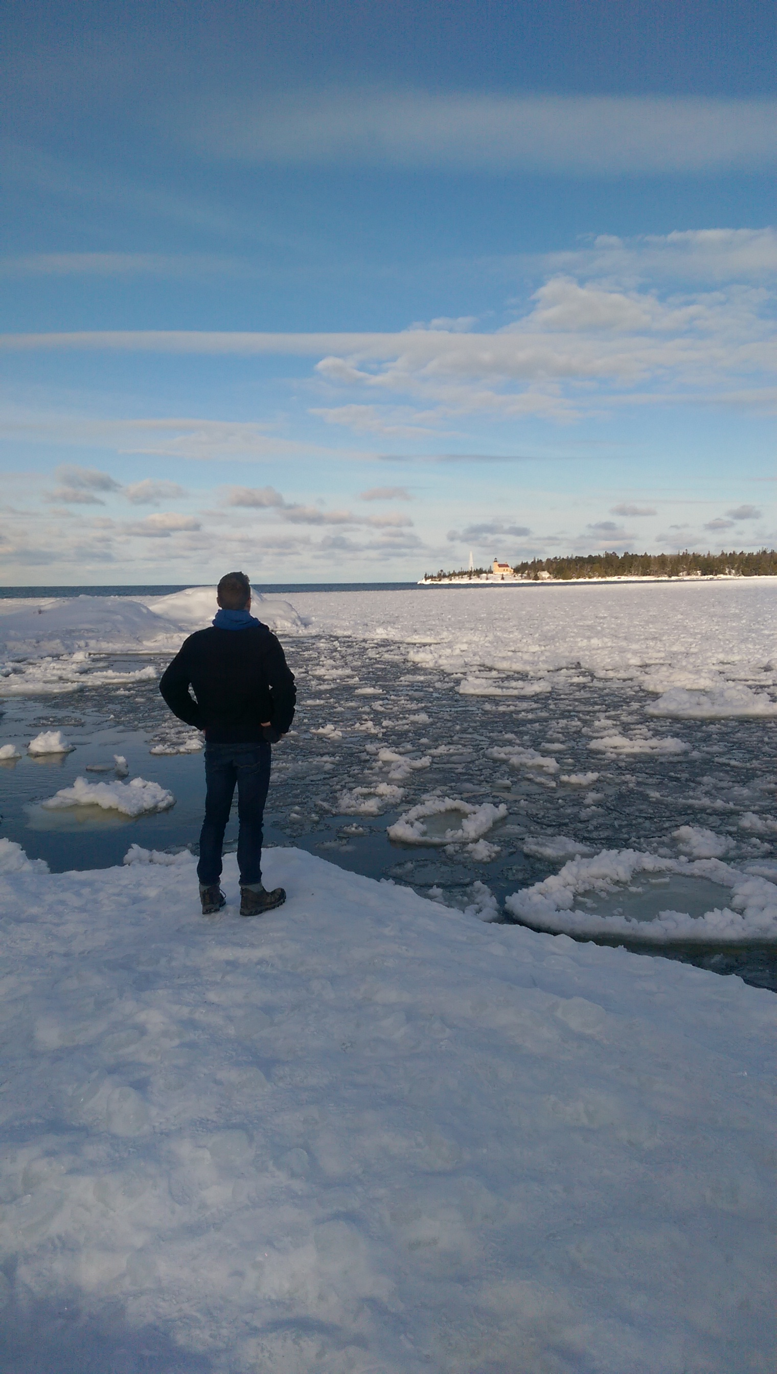 Admiring the icy waters of Copper Harbor