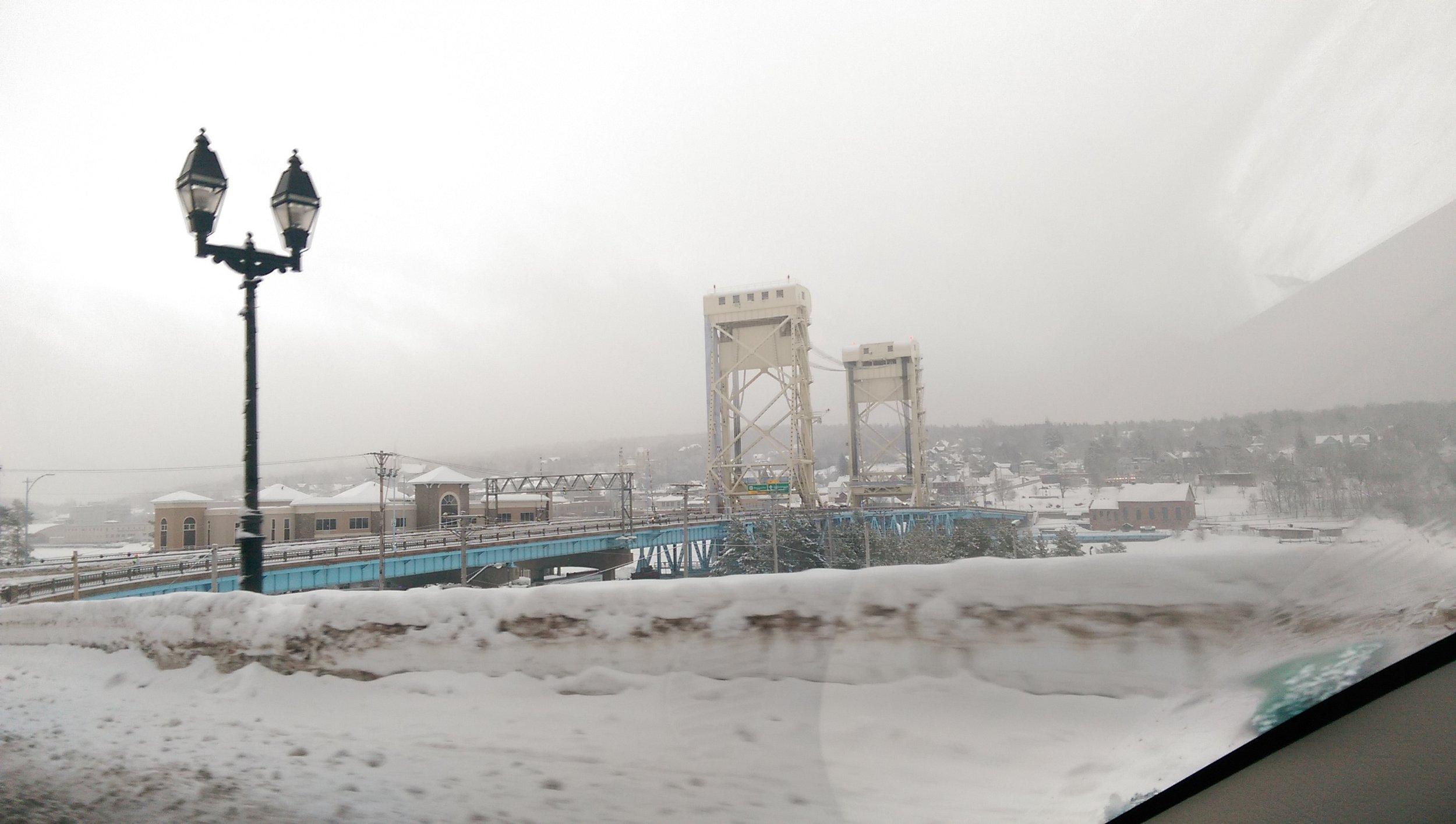 The Houghton-Hancock Lift Bridge as seen through my car's windshield.