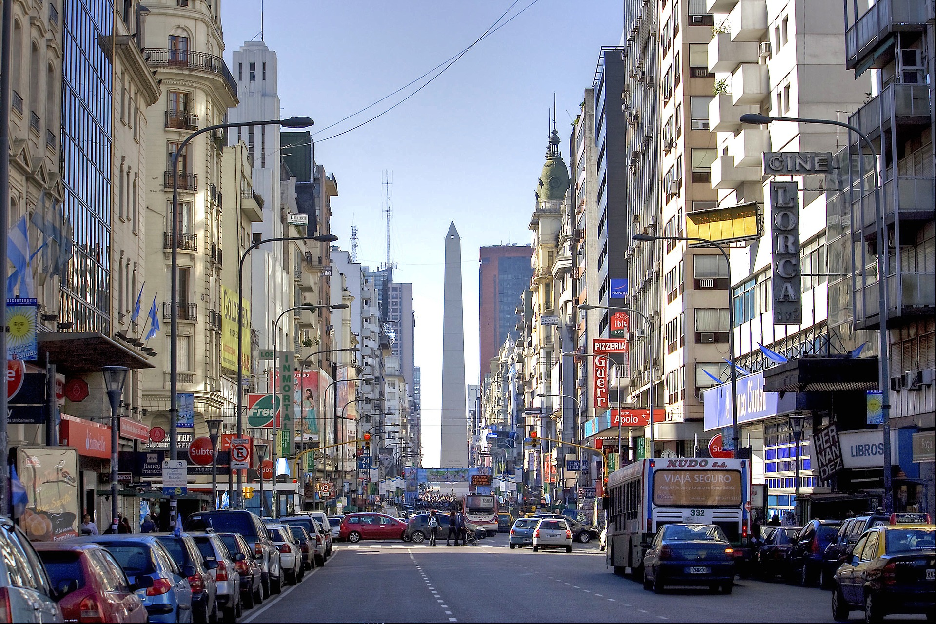 The Obelisco looms large while looking east down Avenida Corrientes in Buenos Aires (Image:  Pixabay )