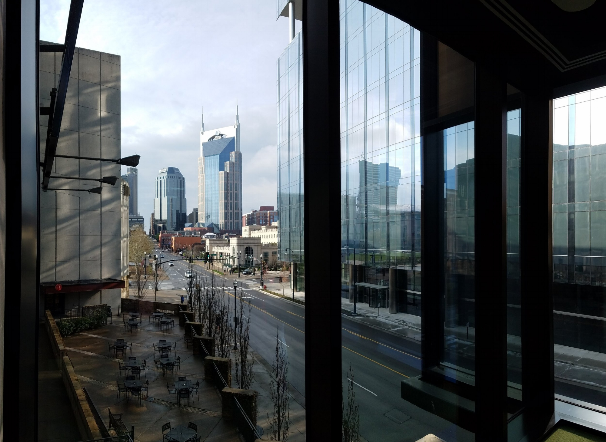 Looking northwest down 4th Avenue from inside the Country Music Hall of Fame and Museum