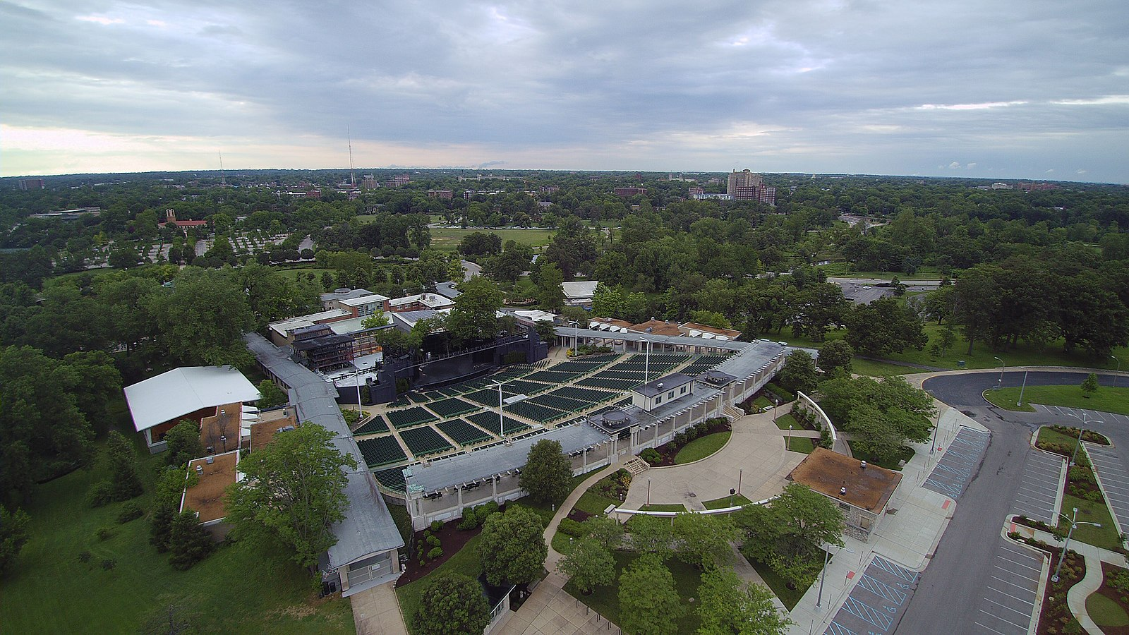 An aerial shot of The Muny in St. Louis' Forest Park (Image:  Wikimedia Commons )