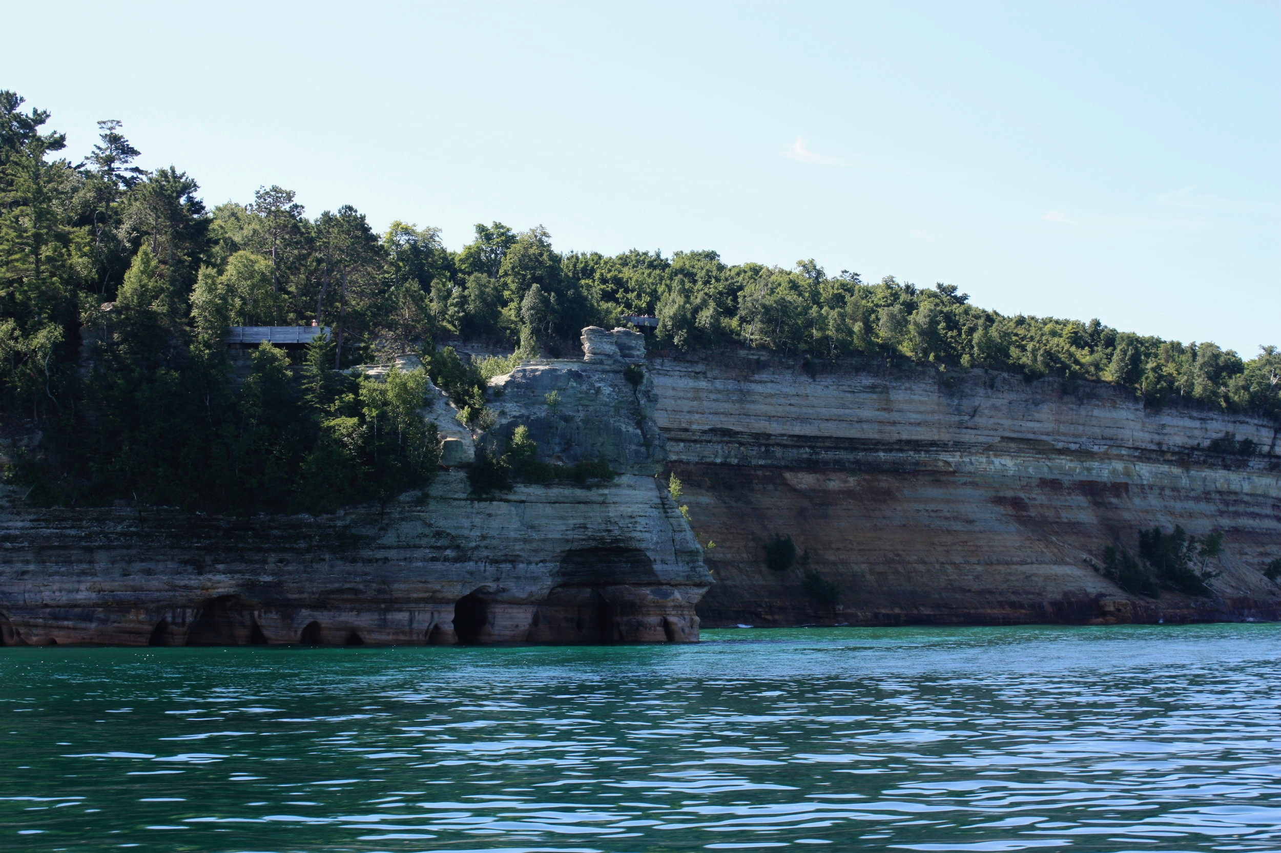 """It would be difficult to decipher which of Pictured Rocks' features is most famous, but there is only one that has been used as the site of a wedding ceremony — and that would be  Miners Castle . Receiving its name from Englishmen in search of minerals in 1771, the Castle has towered along the shoreline for centuries and even served as a major inspiration for Henry Wadsworth Longfellow's 1855 poem """" The Song of Hiawatha """"."""