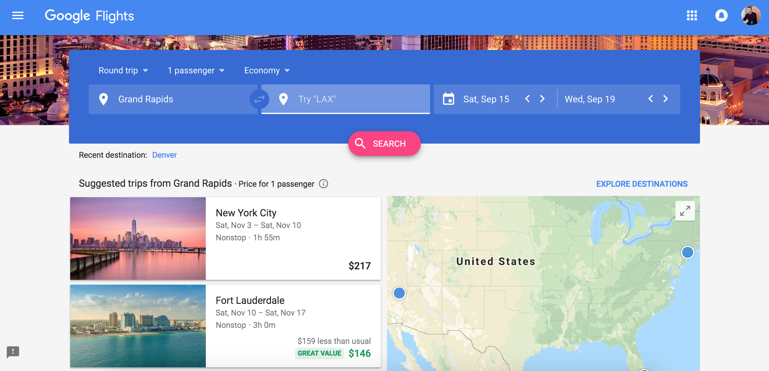 The Google Flights machine will often suggest cheaper trips for you based on your location
