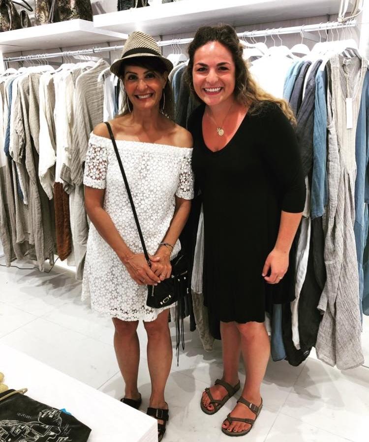 Melissa (right) and Nia Vardalos in Fira (Photo: Melissa Smith)