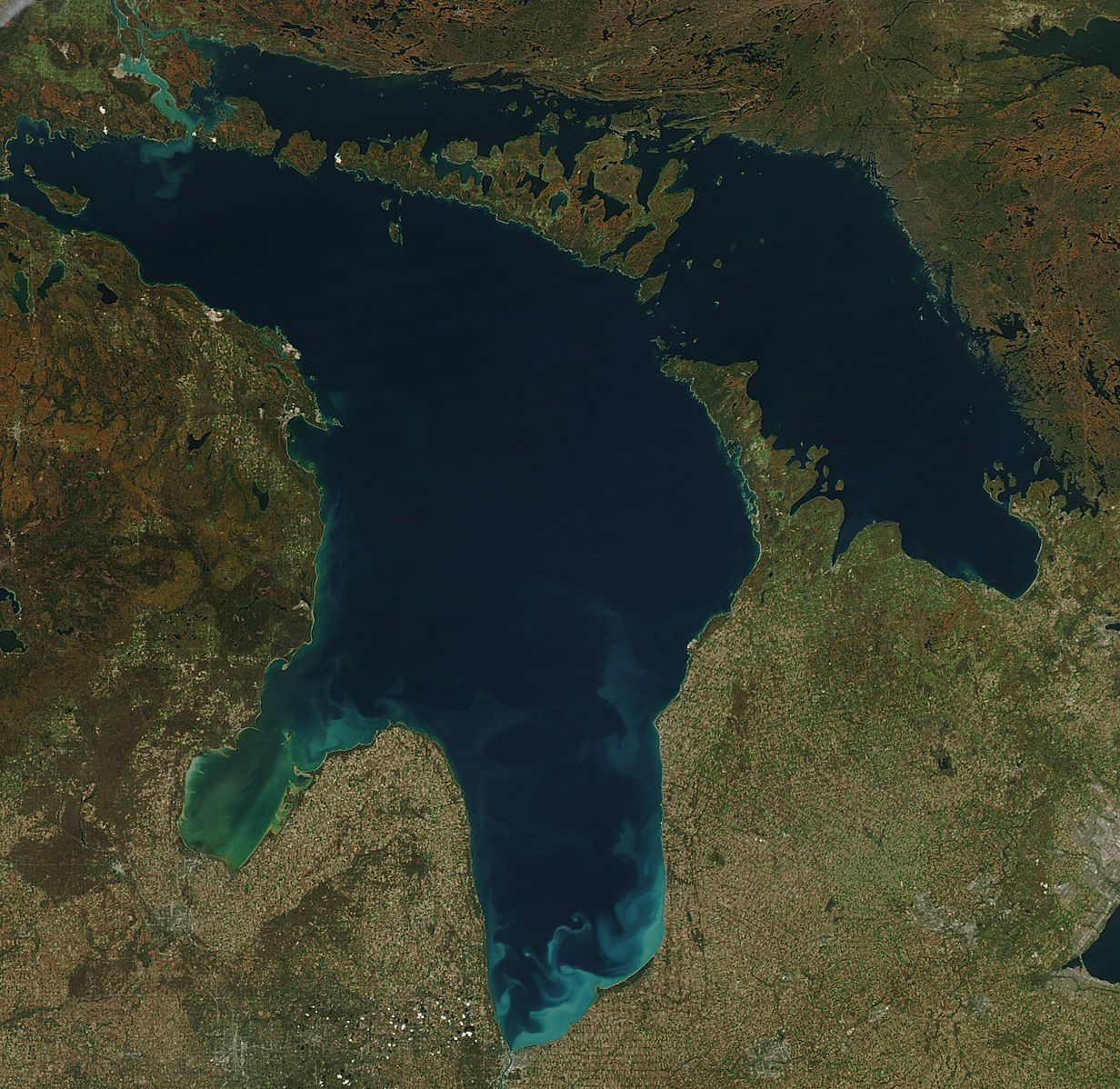 3. Lake Huron - -Surface Area: 23,007 sq. miles (2nd)-Volume: 850 cubic miles (3rd)-Depth: 750 ft. (4th)-Shore Length: 3,830 miles (1st)