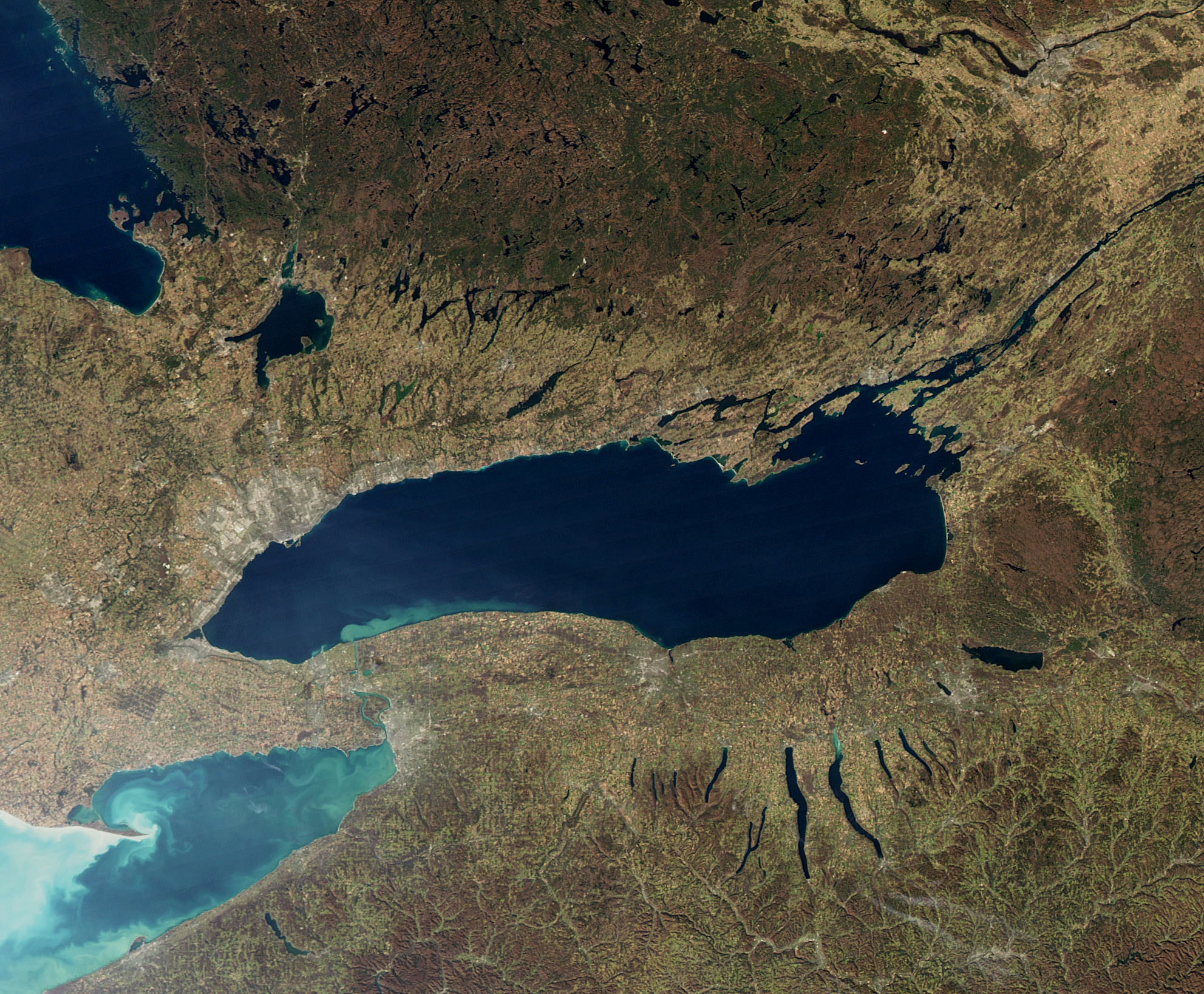 4. Lake Ontario - -Surface Area: 7,340 sq. miles (5th)-Volume: 393 cubic miles (4th)-Depth: 802 ft. (3rd)-Shore Length: 712 miles (5th)