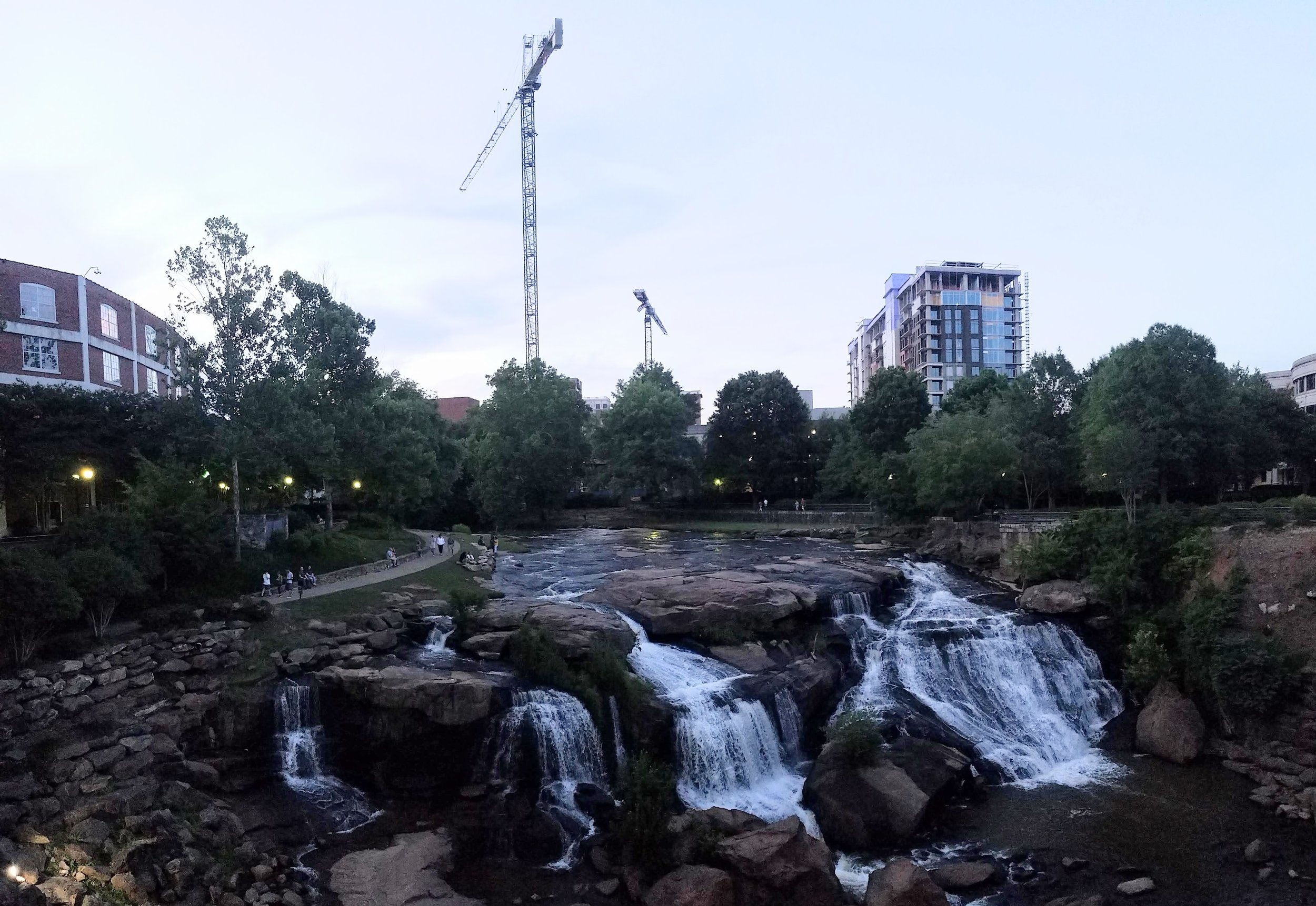 The view from the suspension bridge in Falls Park in downtown Greenville, S.C.