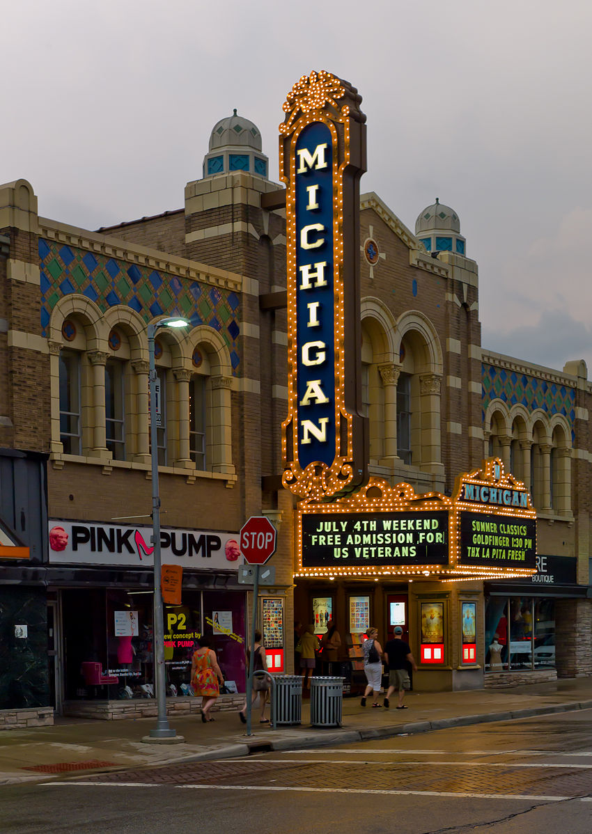 The Michigan Theater marquee helps light up East Liberty Street (Photo:  Wikimedia Commons )