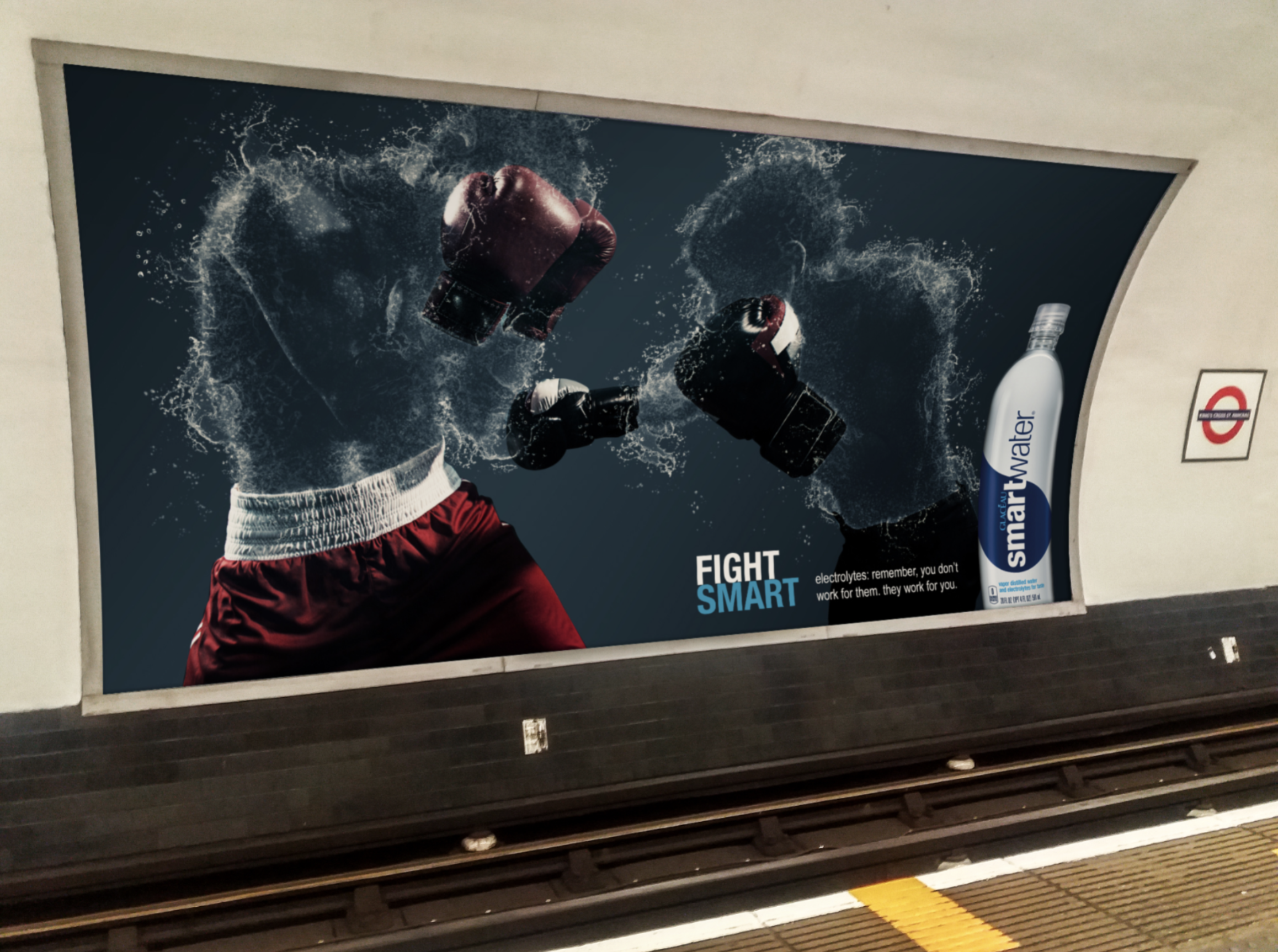 """Smart Water - Taking on the Smart Water poster design with a more dynamic approach, focusing on athletics from a mixed variety of sports.""""The average adult human body is 50 - 65% water""""Playing on that idea and looking at poster designs from the Smart Water campaigns and other water brands, I focused on making just that, leaving only crucial parts of athletic wear visible."""