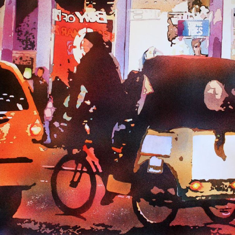 Detail of Laurie Goldstein-Warren, Pedicab-NYC 2016 TWS Exhibition, Top Five Paintings 2016