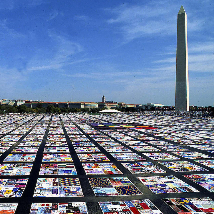 Installation view of the AIDS Memorial Quilt on view at the National Mall in Washington, D.C. covering 1.3 million square feet