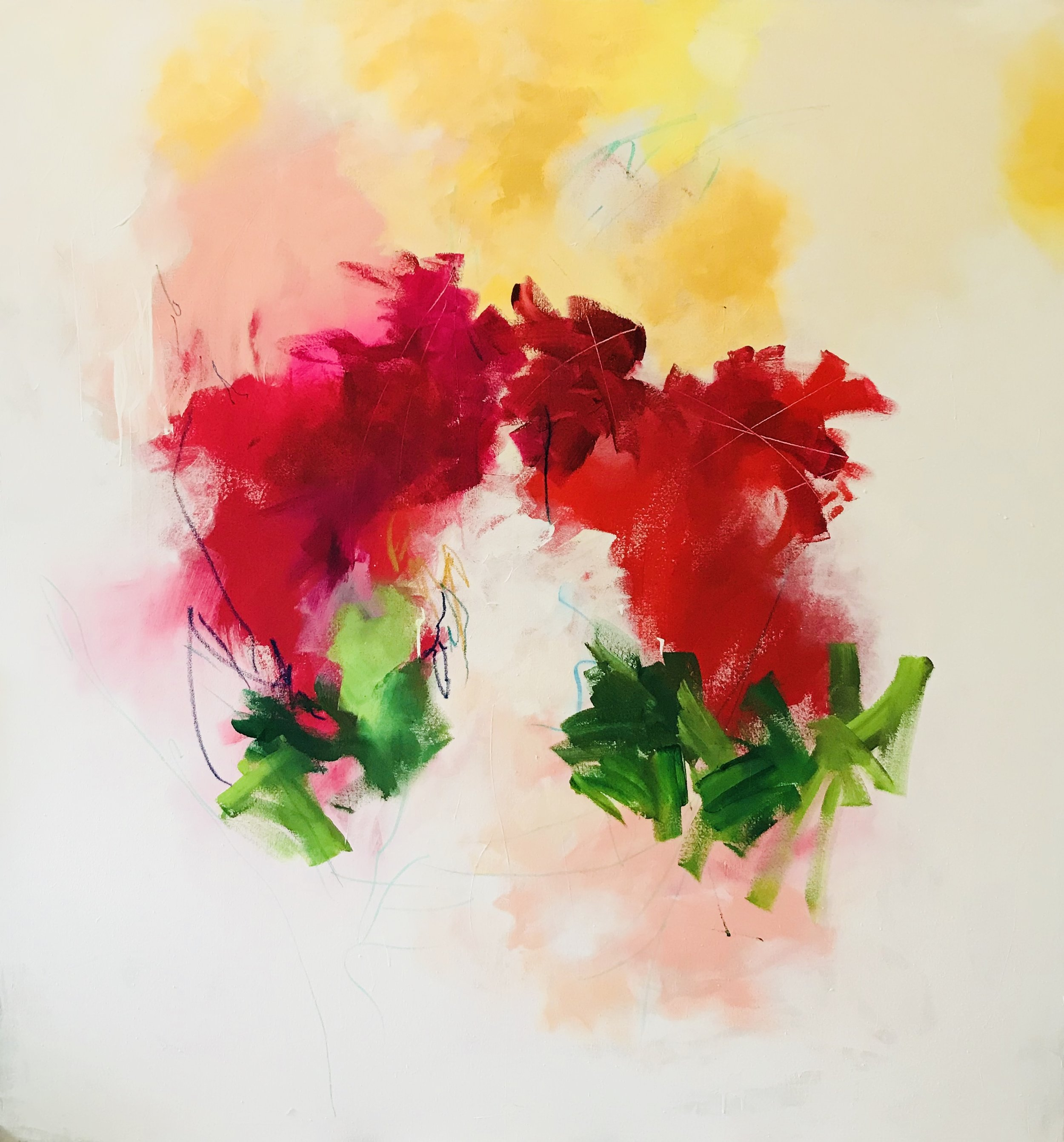 Ginger Cochran,  Innocent,  2018, 60 x 60 in., mixed media.