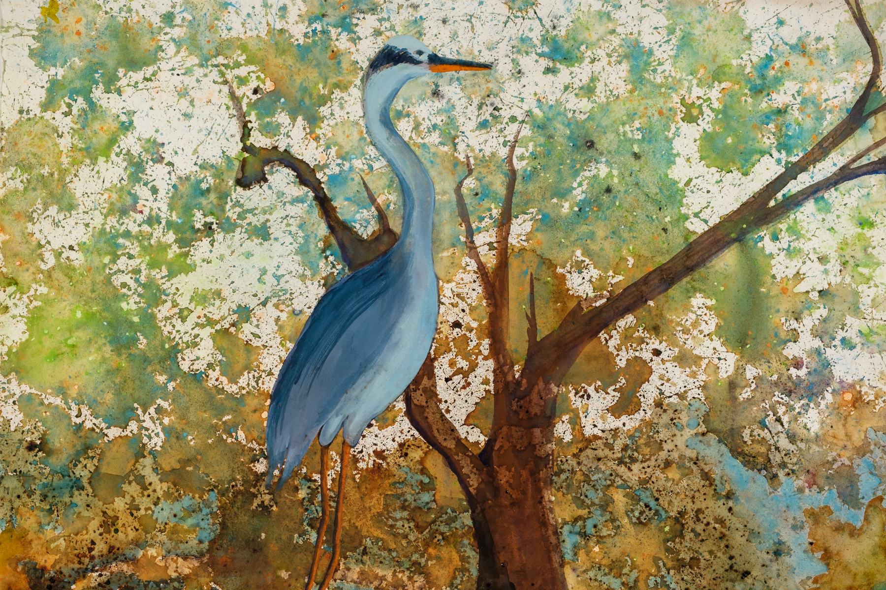 Carol Rowley, Heron Hiding, watercolor