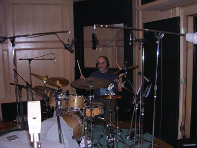 check out the cool fort peter built in front of his kick drum, using only a blanket