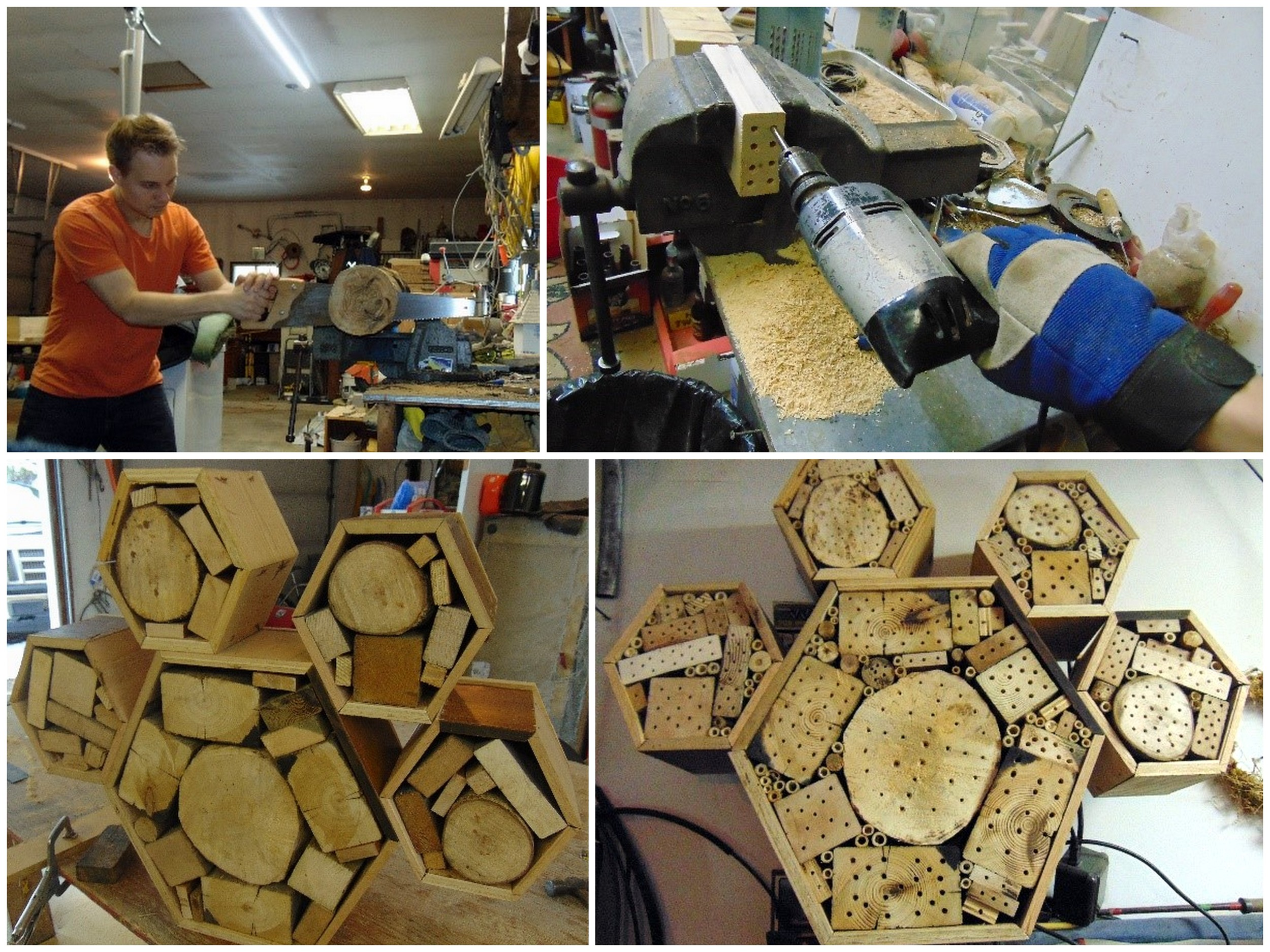 Cutting logs and blocks to size and drilling a variety of holes in each block for the bee nests.