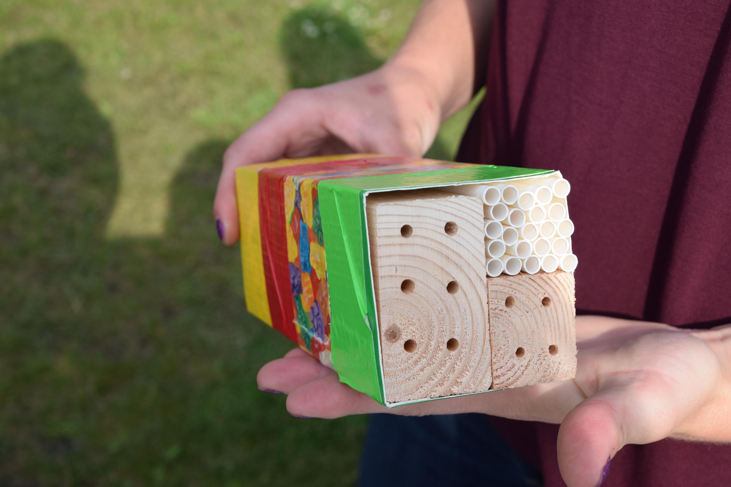 Each person made a small milk carton bee hotel.