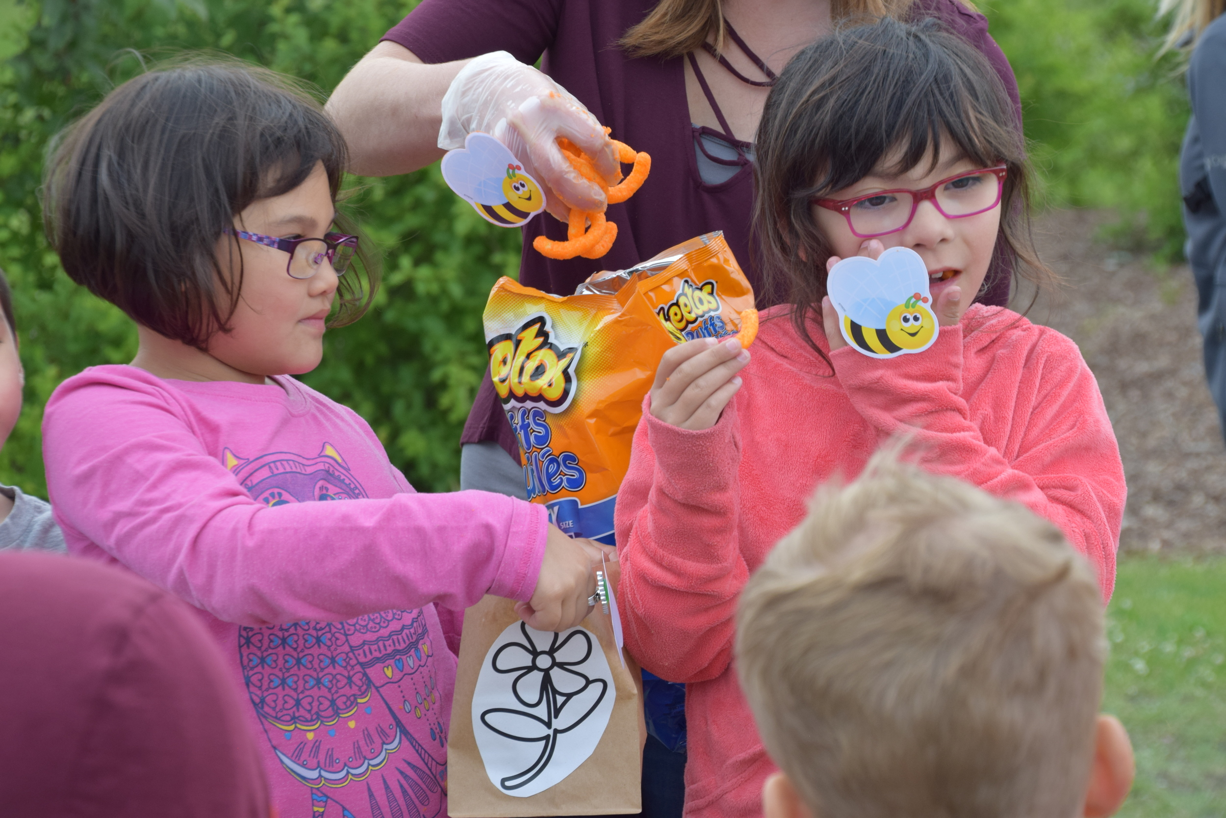 Then using cheetos to demonstrate pollination,