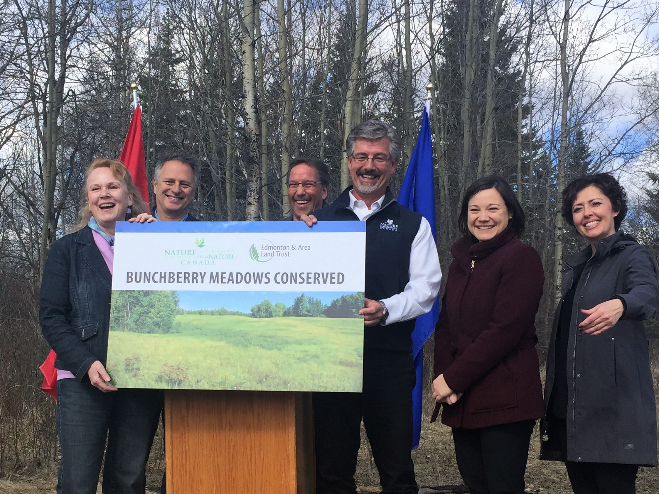 Left to right: Pam Wight, EALT ED, Kim Laskin, donor families, Rod Sheigac, Mayor of Parkland County, Bob Demulder, NCC VP, Shannon Phillips, Minister, AnnLisa Jensen, Parkland County Councillor
