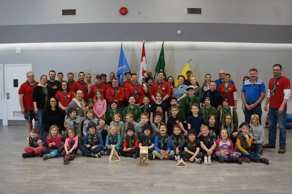 2nd St. Albert Scouts Launch of Good Turn Week – sample bee houses on display