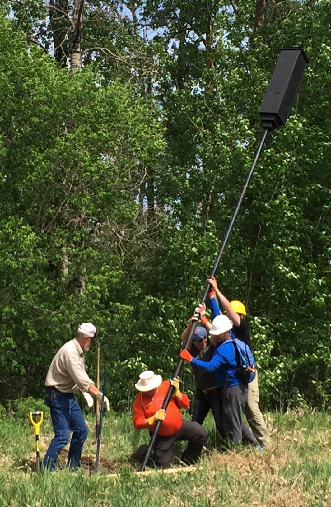 Volunteers installing our very first Rocket Bat Box at Boisvert's GreenWoods!