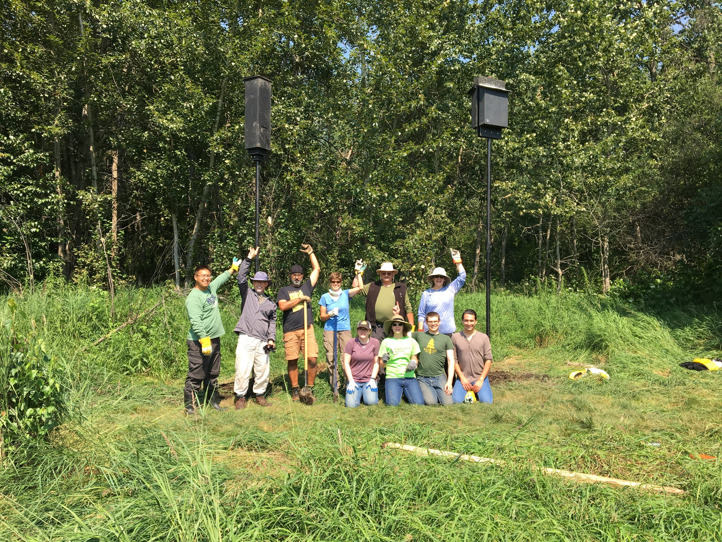 Volunteers celebrate the successful installation of Bat Boxes at Glory Hills at one of our many volunteer events in 2017.